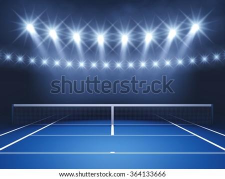 Tennis court and spotlights , Tennis tournament  - stock photo