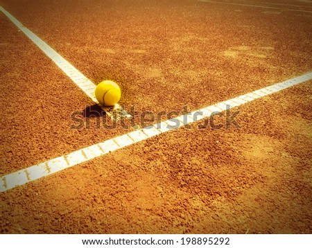 tennis court t-line (320) with ball, outside - stock photo