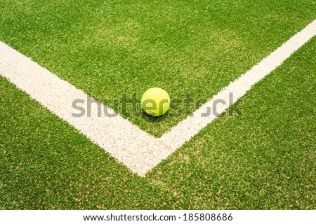 Tennis court with tennis ball - stock photo