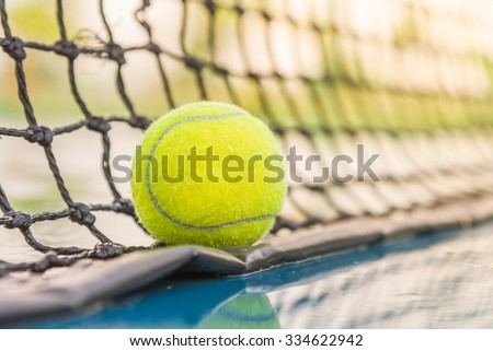 Tennis court with tennis ball close up - stock photo