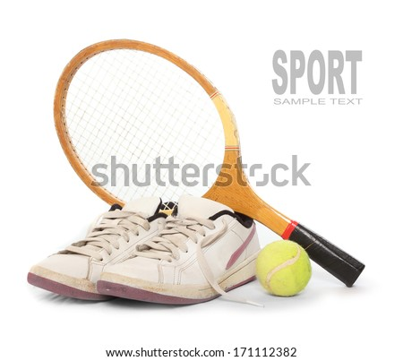 Tennis equipment from 1970s with space for your text.  - stock photo
