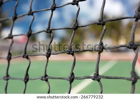 Tennis net, outdoor at empty court. Macro shot. Background  - stock photo
