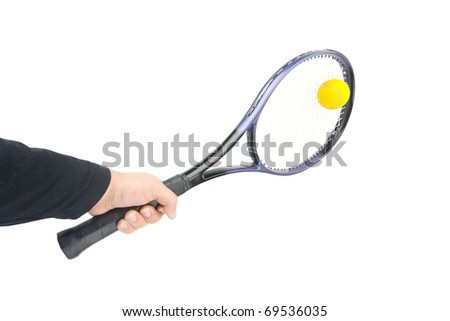 Tennis player hitting the ball. Isolated on white - stock photo