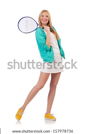 Tennis player isolated on white - stock photo