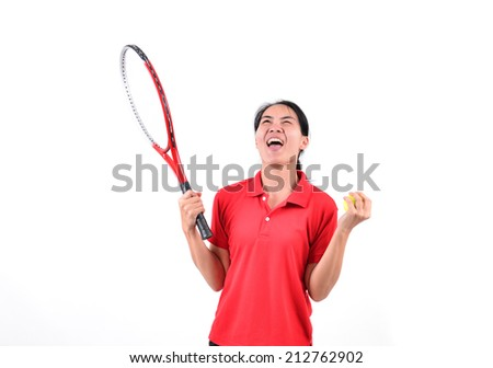 tennis player isolated on white background