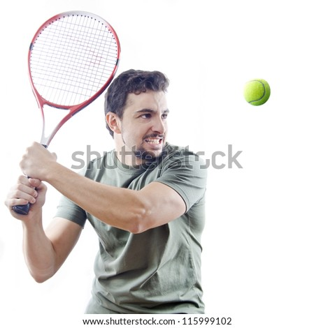 tennis player over white with hard light. - stock photo