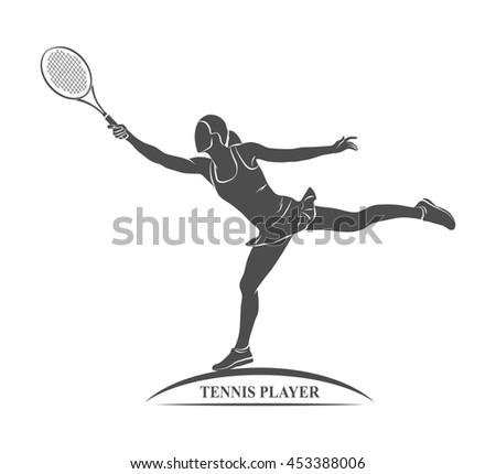 tennis player, silhouette - stock photo
