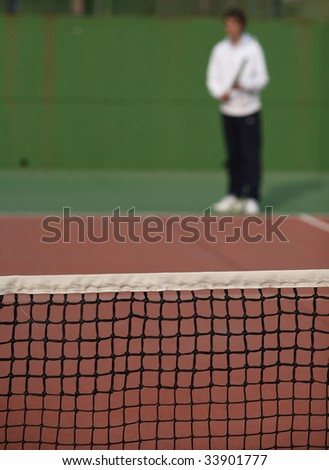 Tennis player waiting for the serve of his - stock photo