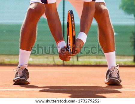 tennis player  waiting tennis ball - stock photo