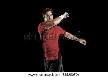 Tennis player with a red shirt, playing on a black background.