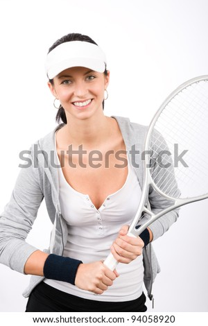 Tennis player woman young smiling serving racket isolated - stock photo