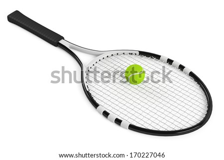 Tennis racket and ball isolated - stock photo