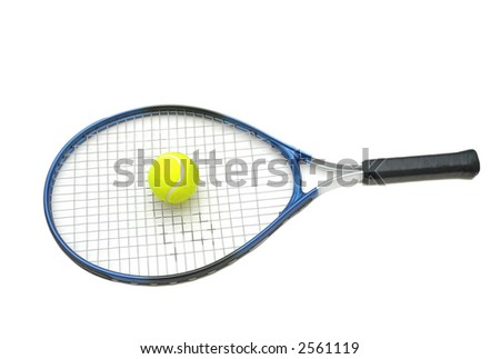 Tennis racket and ball isolated on the white - stock photo