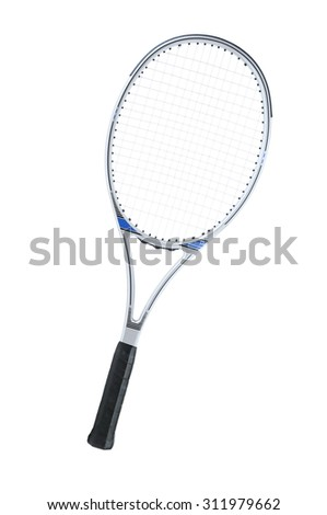 Tennis racket isolated on a white background. - stock photo