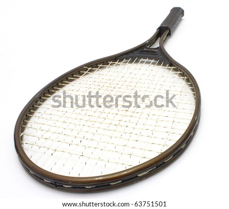 Tennis racket of brown color on a white background - stock photo