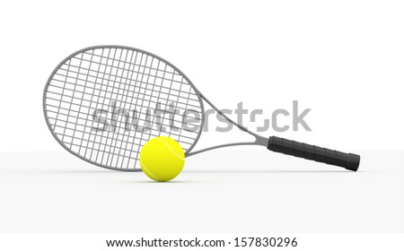 Tennis racket rendered isolated on white background - stock photo