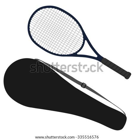 Tennis racket, tennis raquet, sport equipment, racket cover - stock photo
