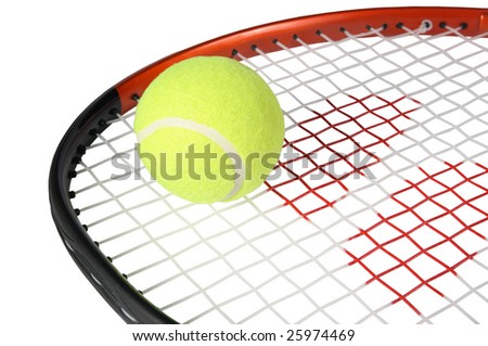 Tennis racket with a ball on a white background - stock photo