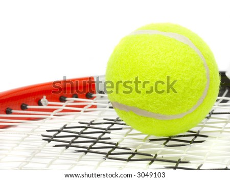 Tennis racket with a ball on a white background. - stock photo