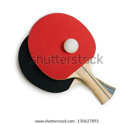 Tennis rackets for pingpong table tennis.White isolated studio shot. - stock photo