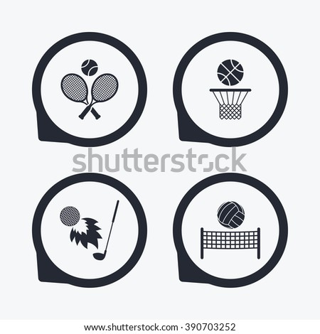 Tennis rackets with ball. Basketball basket. Volleyball net with ball. Golf fireball sign. Sport icons. Flat icon pointers. - stock photo