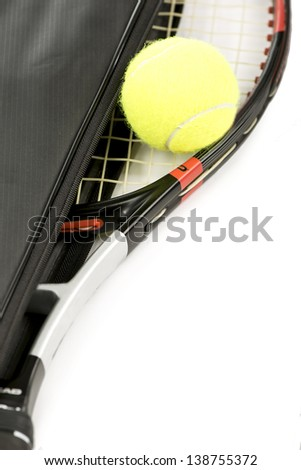 tennis racquet and ball on a white background - stock photo