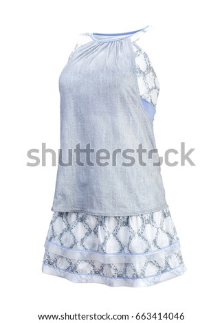 Tennis Shirt and Skirt. Isolated on White Background.