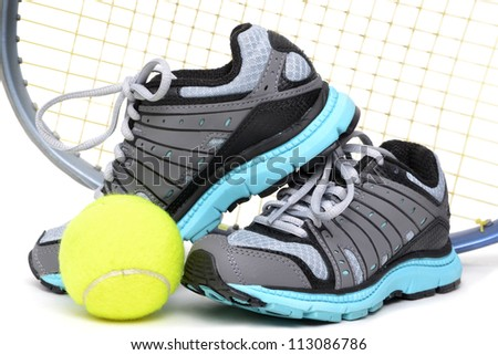 tennis sports equipment white background - stock photo