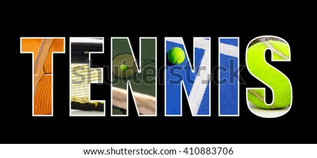 Tennis text with assorted tennis images, on black