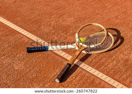 tennis vintage rackets - stock photo