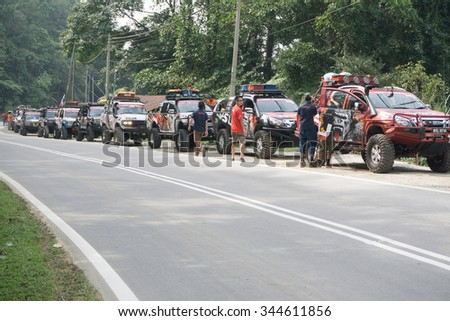 Tenom Sabah Malaysia - Oct 25, 2015:A group of adventurer using 4X4 car preparing to start jungle adventure in the jungle of Sabah Malaysian Borneo.Sabah jungle is popular for 4X4 adventure.
