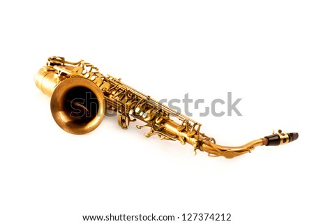 Tenor sax golden saxophone isolated on white background - stock photo