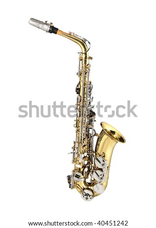 Tenor Sax, wind instrument. On a white background. - stock photo