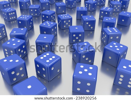 Tens of blue dice arranged in a random position  - stock photo