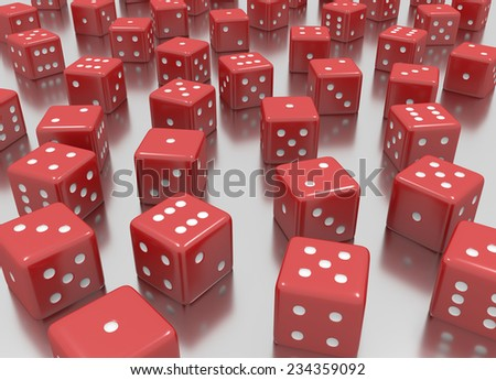 tens of red dice arranged in a random position  - stock photo