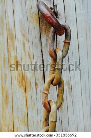 Tense Chain On Post/Tense/Chain On Post - stock photo