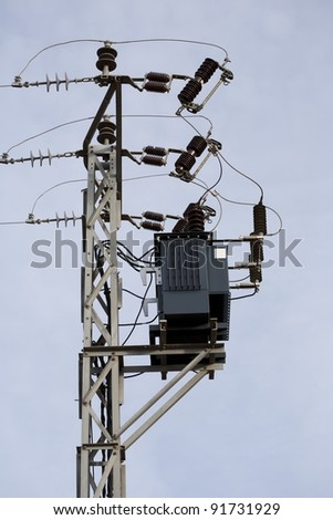 Tension pole with electrical transformer