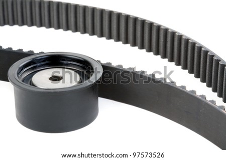 tension pulley and timing belt, Isolate on white - stock photo