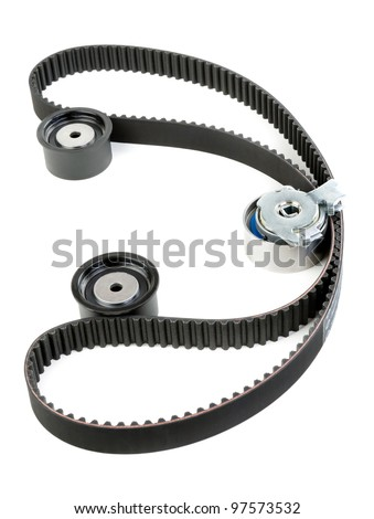 tension pulley and timing, Isolate on white - stock photo