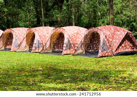 Tent at camping basement in the forest Thailand - stock photo