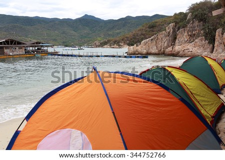 Tent, camping near the beach in the Vinh Hy Bay, belong to Ninh Thuan Province, Vietnam.