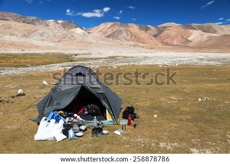 Tent in Himalayan mountains - near Tso Moriri lake in Rupshu valley - Ladakh - India - stock photo