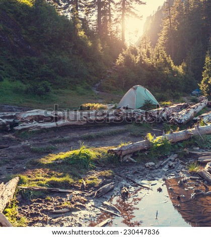 tent in mountains - stock photo