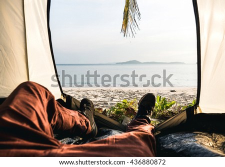 Tent lookout on a Camp on the beach of the ocean - stock photo