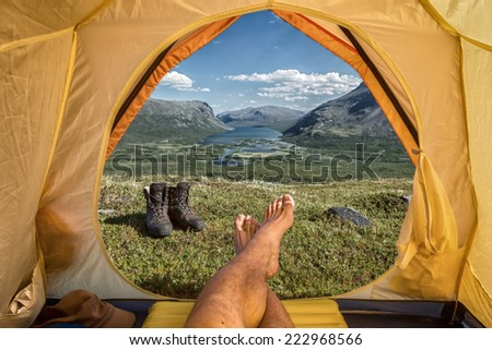 Tent lookout over the Rautasjaure in northern sweden - stock photo