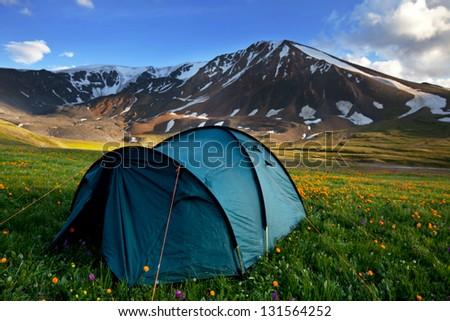 tent near canyon - stock photo