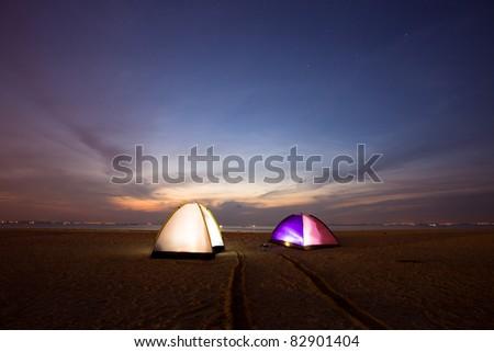 tent on beach - stock photo