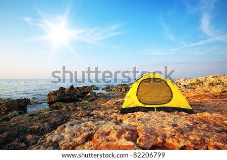 Tent on the sea. Relax scene. - stock photo