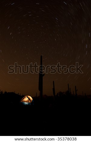 Tent under Saguaro and swirling Star-trails made with 15 min. exposure.