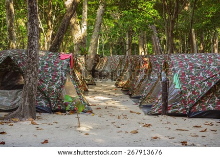 Tents camping for overnight stays of tourists at  Similan Islands Thailand - stock photo